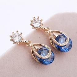 Crystal Beads Water Drop Dangle Earrings