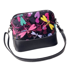 Dragonfly Printing Leather Cross Body Shoulder Bag