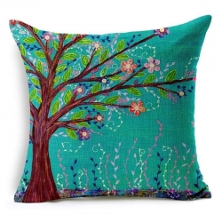 Decorative Flower Tree Jute Cushion Covers