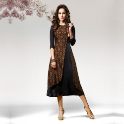 Round Neck Silk Crape Kurta with Asymmetric Hemline