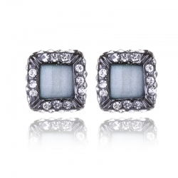 Crystal Gem Geometric Squares Earrings