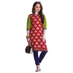 Littledesire Printed Regular Collar Red Kurta