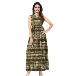 Littledesire Stripes Printed Long Mesh Kurta & Dress With Keyhole Neck