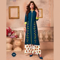 Littledesire Embroidered Work A-Line Kurta With Palazzo
