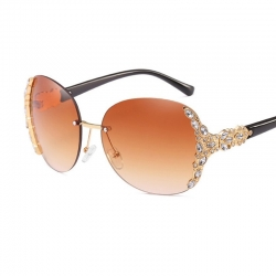 Littledesire Classic Design Stone Frameless Sunglasses UV400