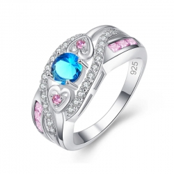 Style Round Heart Cut Pink & Blue CZ Silver 925 Ring