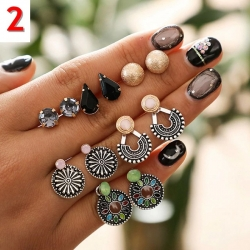 Littledesire Cute Stylish Flower Round Stud Earrings 6 pcs