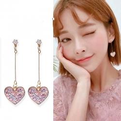 Heart Shape Pink Sequin Long Earrings