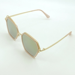 Mirrored Lens Hexagon Shaped Metal Frame Sunglasses