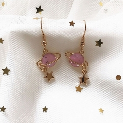 Littledesire  Lovely Pink Universe Planet Star Stud Earrings