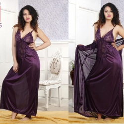 Lace design Satin Long Wrap Gown & Nighty 2pcs