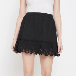 Black Solid Laser Cut Mini Flared Skirt
