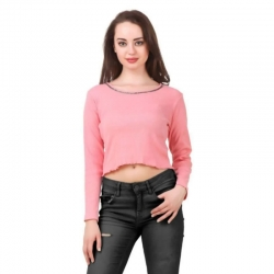 Cotton Self Design Crop Pink Top