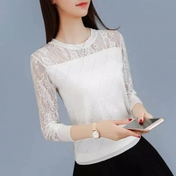 Lace Long Sleeve Hollow Out Loose Top