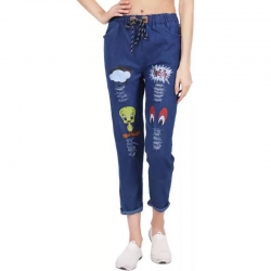 Cute Cartoon Print Girls Blue Denim Joggers Jeans
