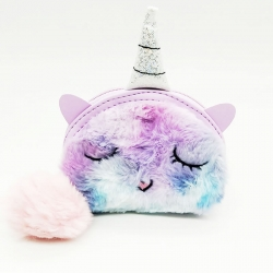 Colorful Unicorn Faux Fur Mini Coin Zipper Wallet - 4.5 Inch