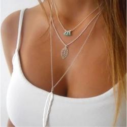 Leaf Design Sliver Chain Multilayer Choker Necklace