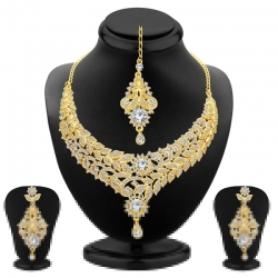 Gold Plated Floral Design Austrian Diamond Necklace Set