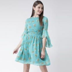 Floral Printed Bell Sleeve Flare Dress