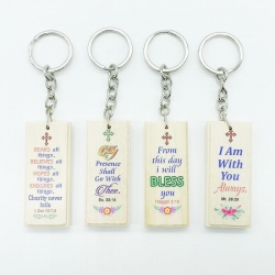Bible Quotes Printed Giftable Wooden Keychain Pack Of 4