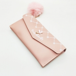 Butterfly Design Puff Ball Clutch Hasp Wallet