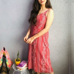 Floral Print A-Line Sleeveless Khadi Pure Cotton Dress