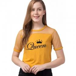 Queen Print Short Sleeve Casual Top