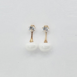 Simple Big Simulated Pearl Beads Drop Earrings