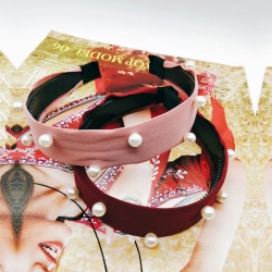 Solid Fabric Faux Pearl Korean Hairband Pack of 2