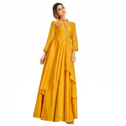 Littledesire Embroidered Stylish Partywear Soft Silk Gown