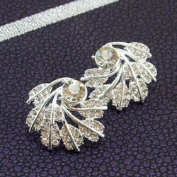 Silver Leaves Stud Leaves Earrings