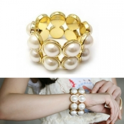 Korea Double Row Big Pearl Stretch Elastic Bracelets