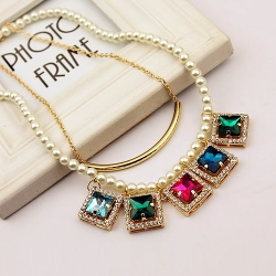 Double Layer Multicolour Crystal Pearl Necklace