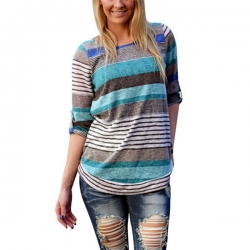 Loose Causal Long Sleeve Striped T-shirts