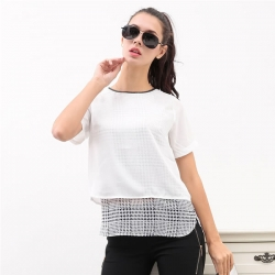 Short Sleeve Chiffon Tops Fake 2 Pcs Mesh