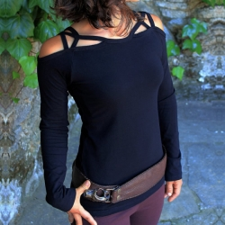 Fashion Designer Shoulder Long Sleeve Tops