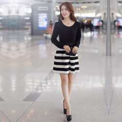 Slim Mini Flare Stripe Dress