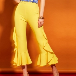 Plain Flared Mid Waisted Bellbottoms Pant