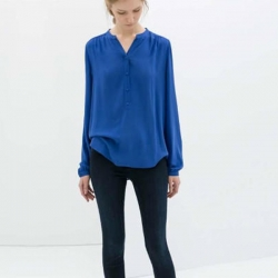 Mandarin Collar Casual Blue Shirt
