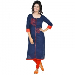 Littledesire Embroidered Cotton Straight Kurta
