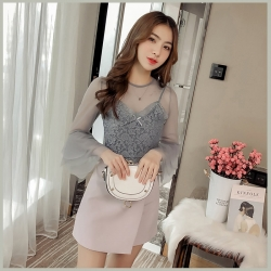 Littledesire Sexy Flare Sleeve Grey Women Top