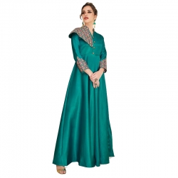 Littledesire Soft Silk Embroidered  Stylish Long Party Wear Gown