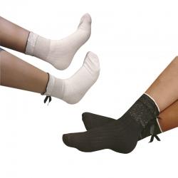 Littledesire Bow Cotton White & Black Socks Women & Girls 2 pairs