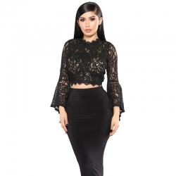Littledesire Black Mesh Lace Bell Sleeve Top