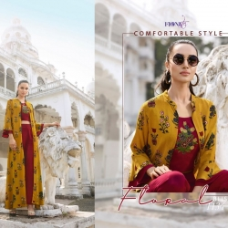Embroidered Crop Top With Bottom & Printed Shrug Kurta