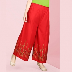 Littledesire Red Embroidered Straight Palazzo