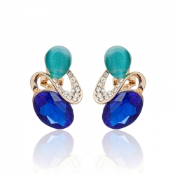 Littledesire Luxury Blue/Red Crystal Pearl Rhinestone Earrings