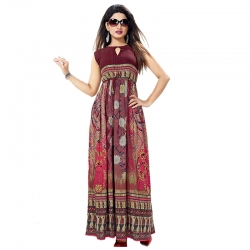 Littledesire Floral Printed Long Mesh Kurta & Dress With Keyhole Neck