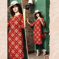 Littledesire Straight Round Neck Printed Red Kurta