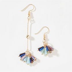 Littledesire Exquisite Colorful Asymmetrical Tassel Crystal Earrings